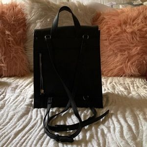 Black faux leather mini backpack
